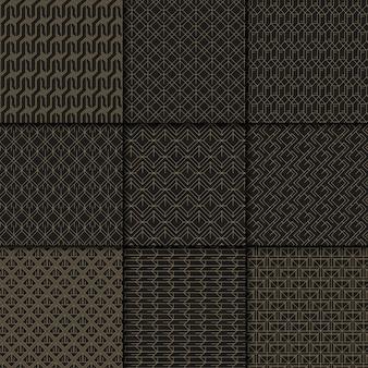 Collezione di motivi geometrici neri e oro