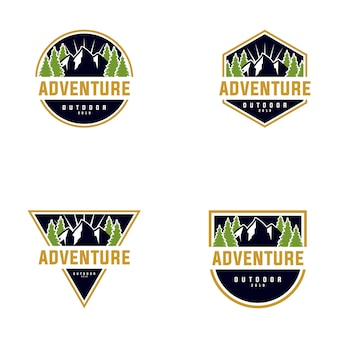 Collezione di mountain outdoor logo design