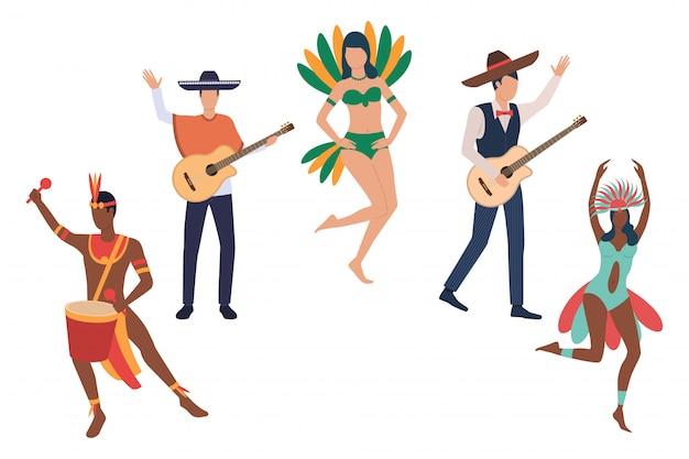 Collezione di musicisti al carnevale brasiliano
