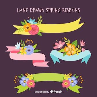 Collezione di nastri di primavera disegnata a mano