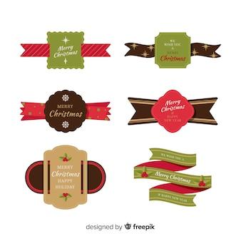 Collezione di nastri piatti natalizi