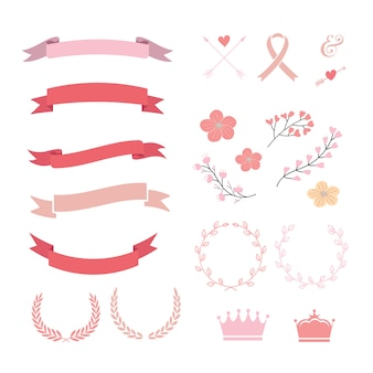 Collezione di nastri rosa e rossa
