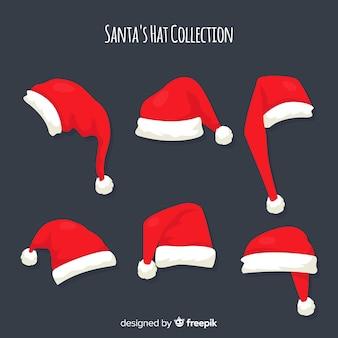 Collezione di Natale cappello di Babbo Natale in design piatto