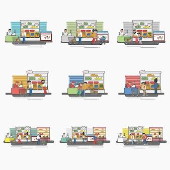 Collezione di negozi e negozi di alimentari