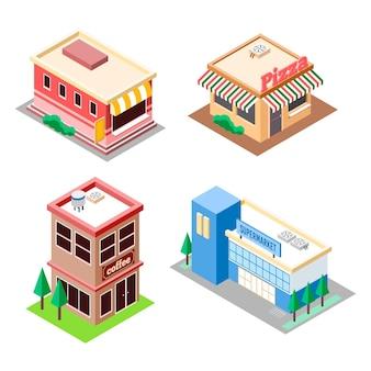 Collezione di negozi isometrici