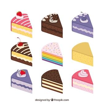 Collezione di nove diverse torte