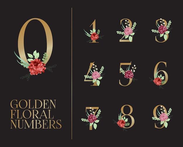 Collezione di numeri floreali dorati