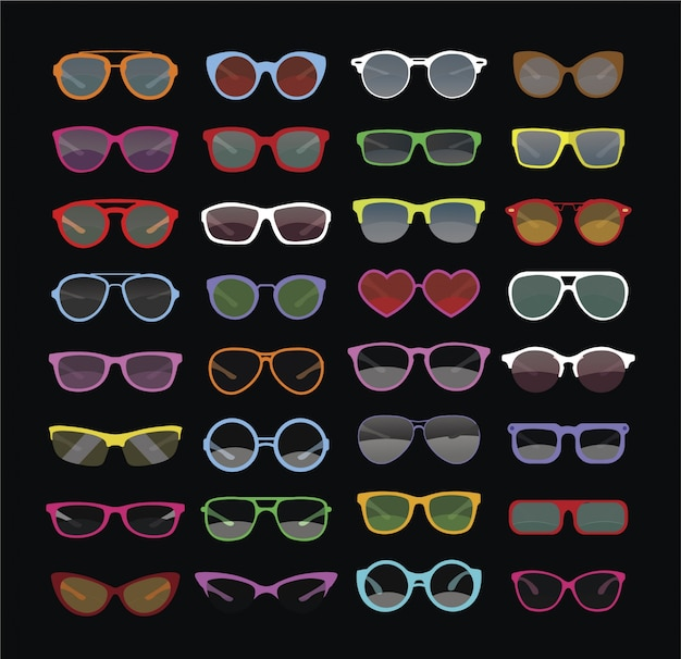 Collezione di occhiali da sole multicolori