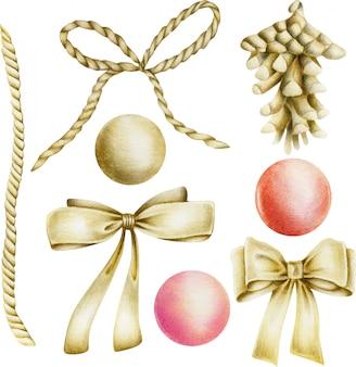 Collezione di oggetti d'oro (fiocchi, cono di abete, palline)