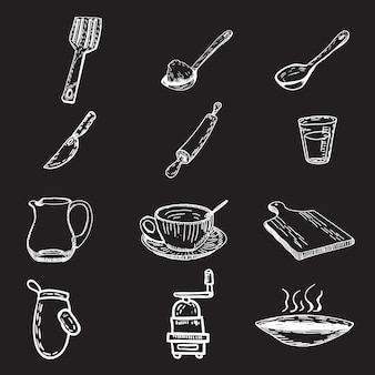 Collezione di oggetti da cucina disegnati a mano
