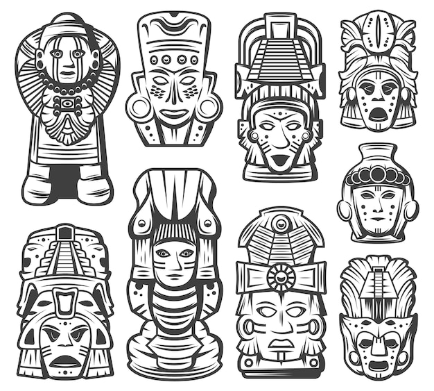 Collezione di oggetti della civiltà maya monocromatica vintage