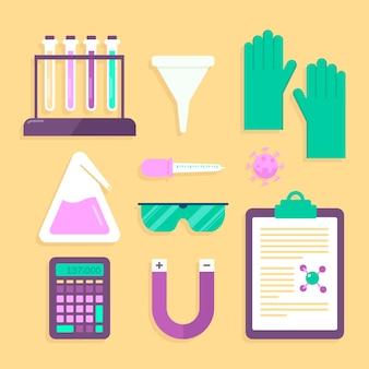 Collezione di oggetti di laboratorio di scienza