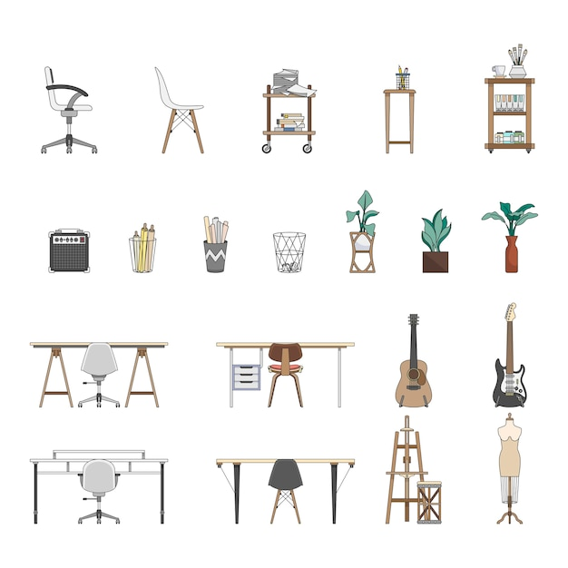 Collezione di oggetti illustrati