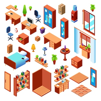 Collezione di oggetti interni per la casa, la camera da letto o la stanza di lavoro