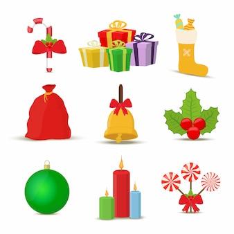 Collezione di oggetti natalizi