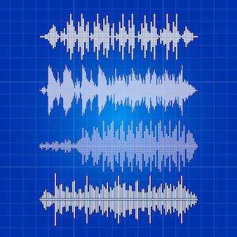 Collezione di onde musica bianca - impulso musicale su sfondo blu