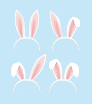 Collezione di orecchie di coniglio per pasqua. set di maschere isolato su bianco. orecchie di coniglio