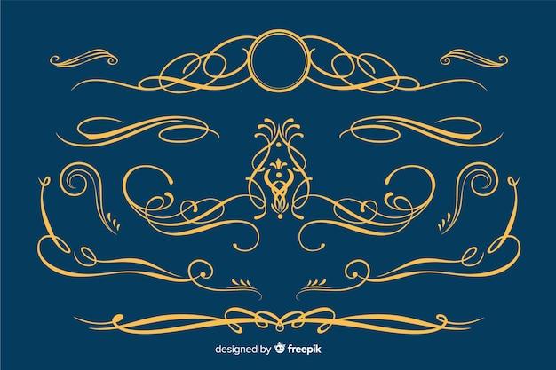 Collezione di ornamenti bordo dorato