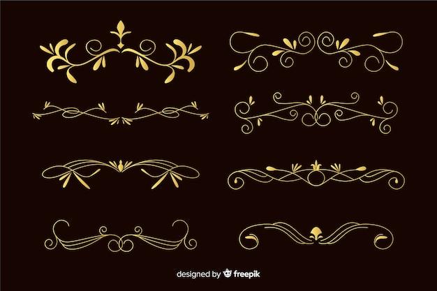 Collezione di ornamenti cornici dorate segmentate