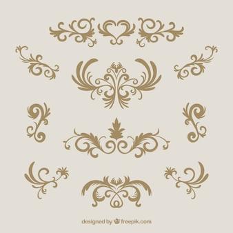 Collezione di ornamenti d'epoca con stile dorato