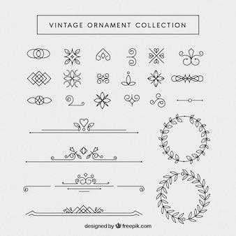 Collezione di ornamenti d'epoca con uno stile elegante