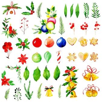 Collezione di ornamenti di natale dell'acquerello