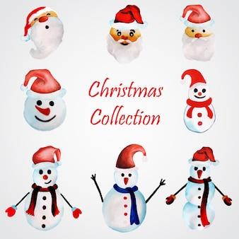 Collezione di ornamenti di natale di acquerello