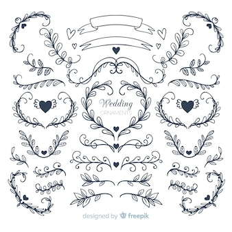 Collezione di ornamenti di nozze disegnati a mano