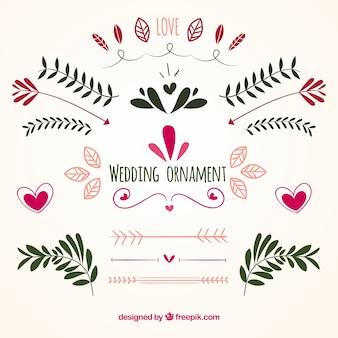 Collezione di ornamenti di nozze piatte