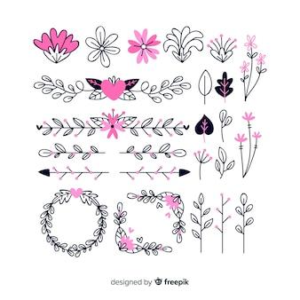 Collezione di ornamenti floreali disegnati a mano
