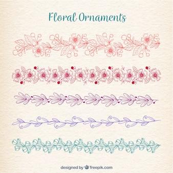 Collezione di ornamenti floreali in monoline