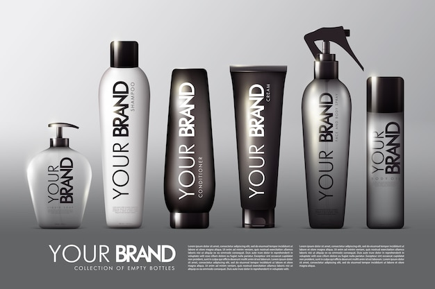 Collezione di pacchetti cosmetici realistici con spray crema balsamo shampoo sapone liquido