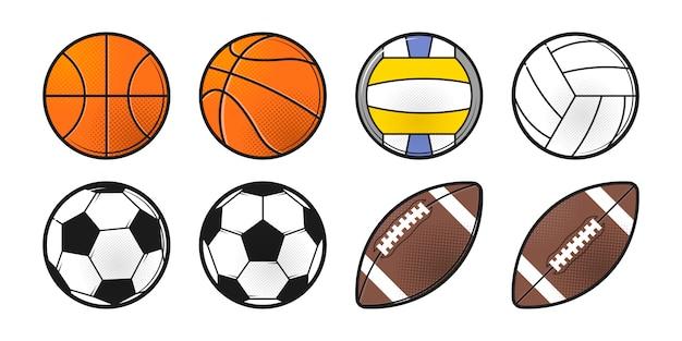 Collezione di palloni sportivi. disegno dell'icona di stile di linea. illustrazione isolato su sfondo bianco.