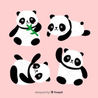 Collezione di panda adorabile disegnato a mano