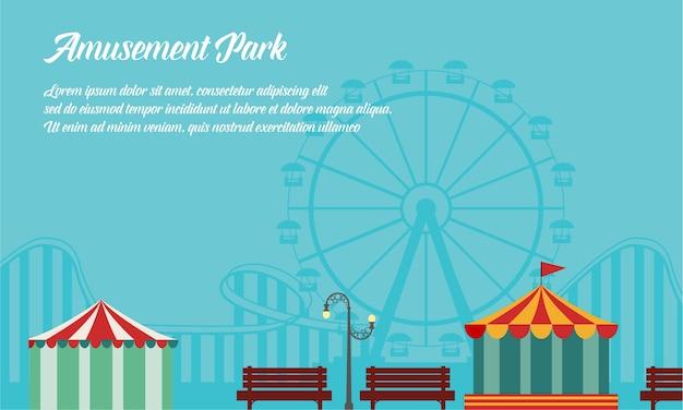 Collezione di parchi divertimenti in stile sfondo