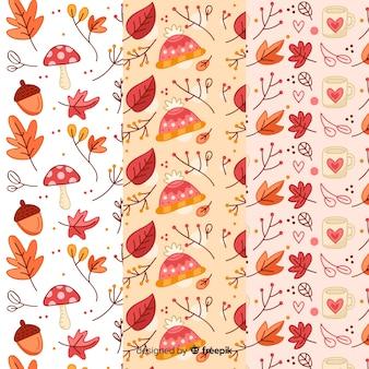 Collezione di pattern autunnali disegnati a mano