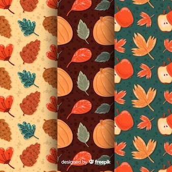 Collezione di pattern autunnali in design piatto