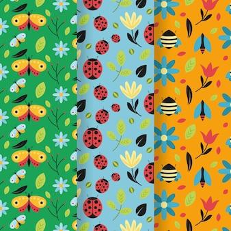 Collezione di pattern colorati bug