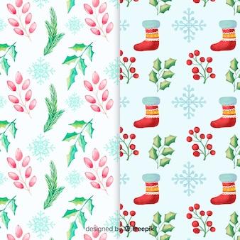 Collezione di pattern colorati di natale ad acquerello