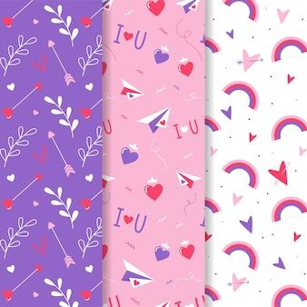 Collezione di pattern colorati di san valentino in design piatto
