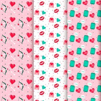 Collezione di pattern colorati di san valentino