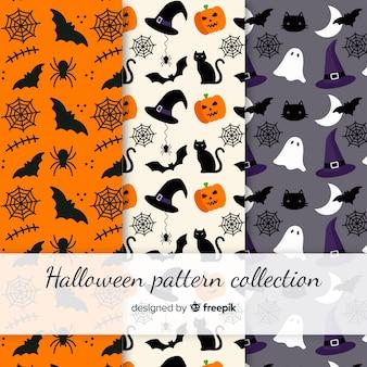 Collezione di pattern colorato halloween con design piatto