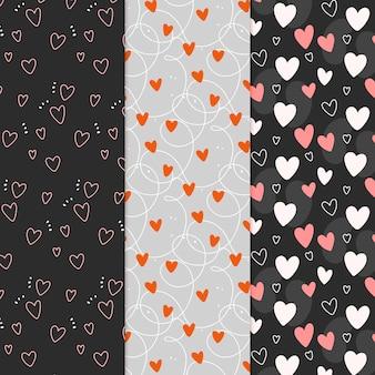Collezione di pattern cuore disegnato a mano