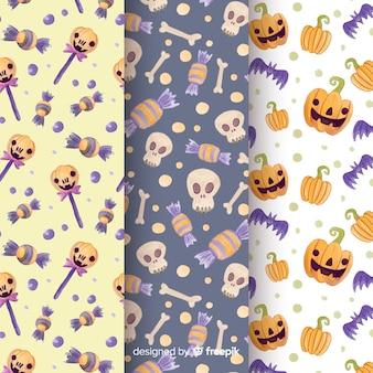 Collezione di pattern di halloween ad acquerello