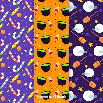 Collezione di pattern di halloween design piatto