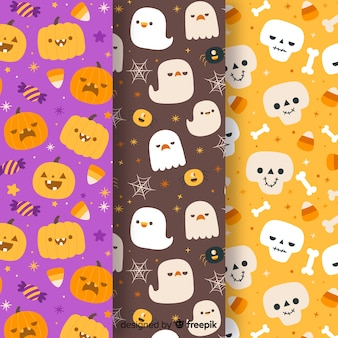 Collezione di pattern di halloween disegnati a mano