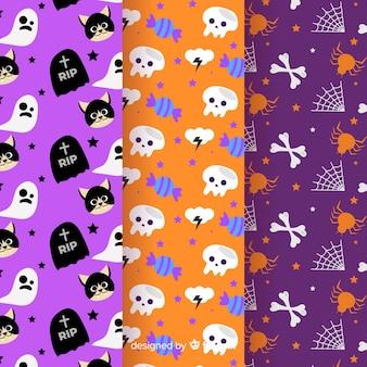 Collezione di pattern di halloween in design piatto
