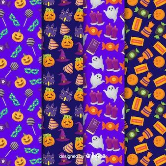 Collezione di pattern di halloween piatta con zucca e dolci