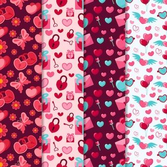 Collezione di pattern di san valentino con farfalle e lucchetti