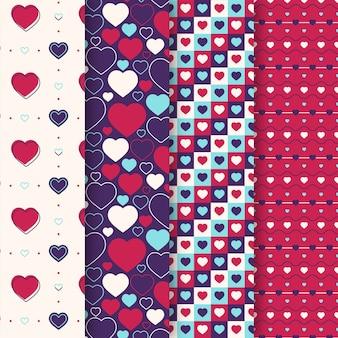 Collezione di pattern di san valentino design piatto